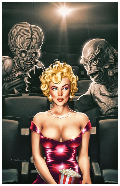 """At The Movies"" from Glamourama - The Pin-Up Art of Carlos Valenzuela"