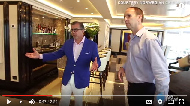 Chairman Frank Del Rio (left) gives USA Today a tour of the $10,000 per night Regent Suites