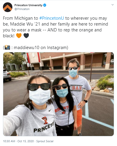 Tweet by Princeton featuring Maddie Wu '21 and her family