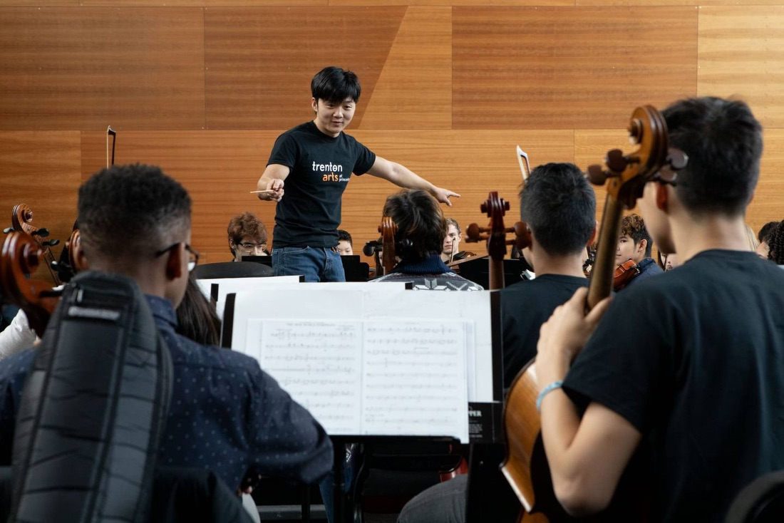 Lou Chen, a 2019 alumnus, rehearsing with Trenton Youth Orchestra on Feb. 29, 2020, in the Lee Rehearsal Room of the Lewis Arts complex.