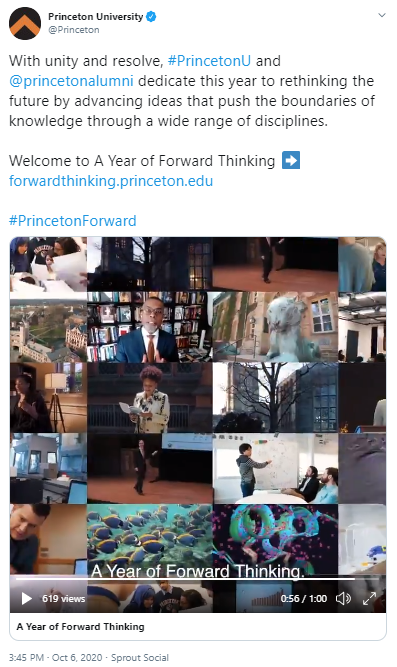 Tweet by Princeton University promoting A Year of Forward Thinking
