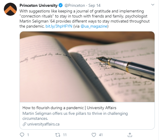 Tweet by Princeton University promoting different ways to stay motivated throughout the pandemic provided by psychologist Martin Seligman '64.