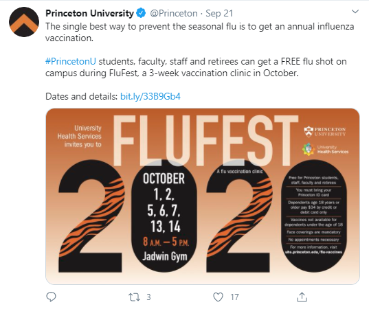 Tweet by Princeton University promoting this year's FluFest.