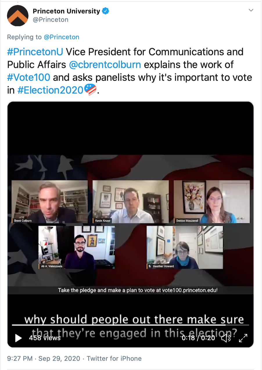 Tweet by Princeton University sharing a screenshot from Tuesday's live debate preview featuring Princeton faculty.
