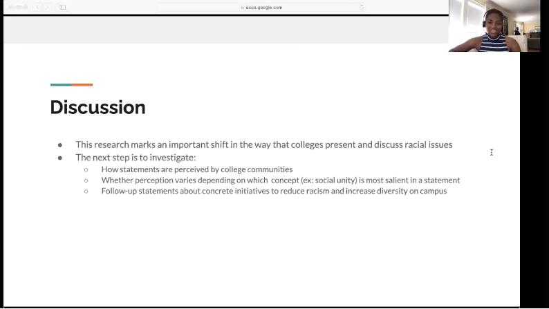 Screenshot of undergraduate student Jessica Brice's summer research presentation.