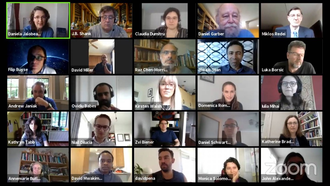 Participants of the Princeton-Bucharest Seminar in Early Modern Philosophy (PBS) engaging over Zoom.