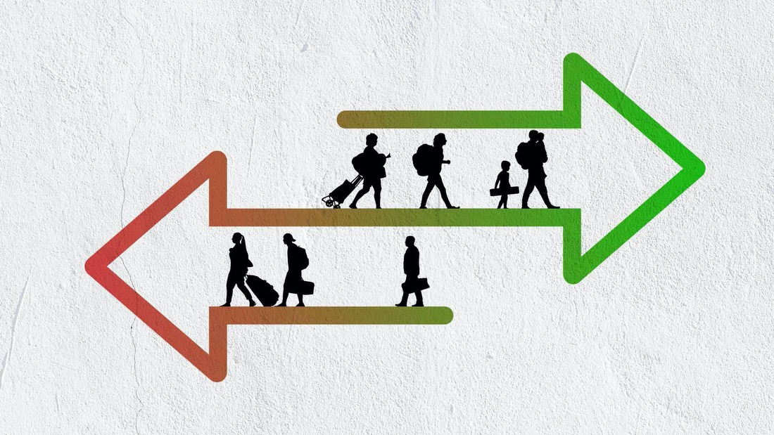 Image showing people traveling in two directions that goes with a story about the effects of tighter border policies